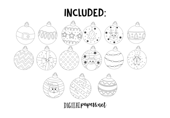 Christmas Ornaments Outlines Graphic Download