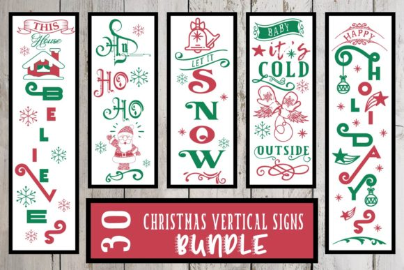 Print on Demand: Christmas Vertical Porch Sign Svg Bundle Graphic Crafts By Sintegra