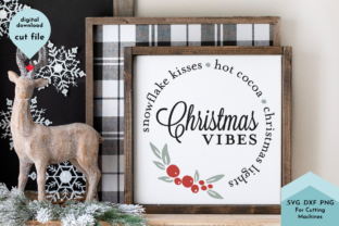 Print on Demand: Christmas Vibes Wreath Svg Cut File Graphic Crafts By Lettershapes