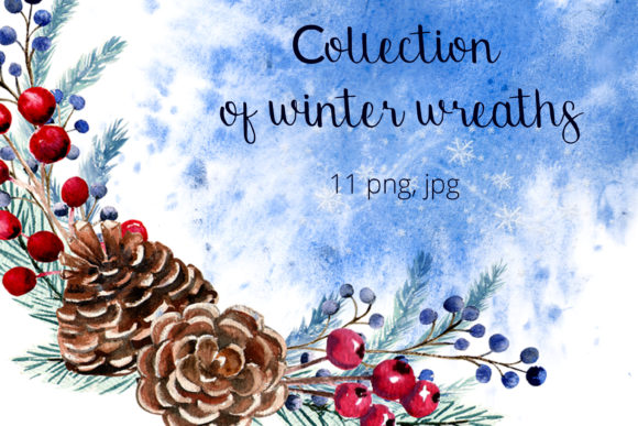 Print on Demand: Collection of Winter Wreaths. Watercolor Graphic Illustrations By Natika_art