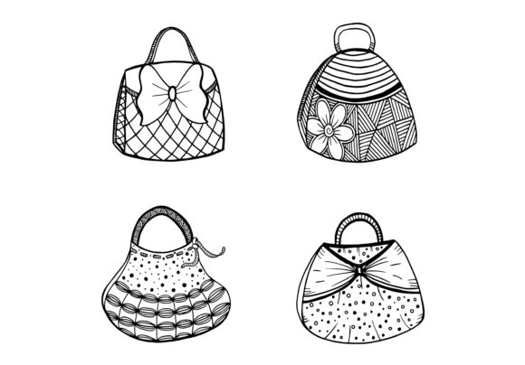 Collection of Women's Handbags Isolated Graphic Objects By Santy Kamal