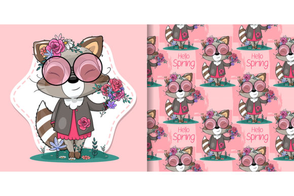 Cute Cartoon Raccoon with Flowers Graphic Illustrations By maniacvector