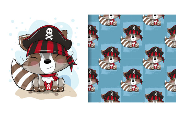 Cute Cartoon Raccoon with Pirate Custom Graphic Illustrations By maniacvector