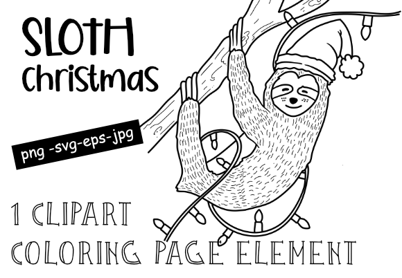 Print on Demand: Cute Christmas BLACK & WHITE Sloth Graphic Print Templates By stanosh