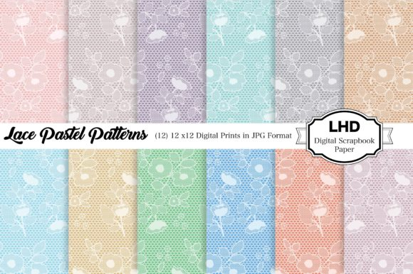 Digital Paper Lace Floral Graphic Patterns By LeskaHamatyDesign