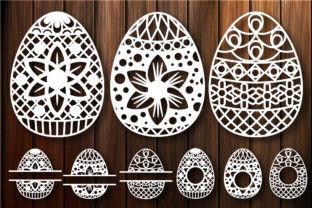 Print on Demand: Easter Egg Monogram Frame Cut Files Graphic Crafts By yulnniya
