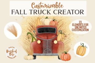 Fall Truck Custom Sublimation Creator Graphic Illustrations By Brushed Rose