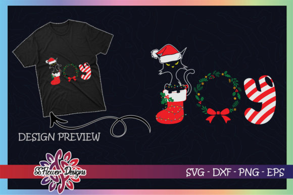 Funny Black Cat Merry Christmas Joy Graphic Print Templates By ssflower