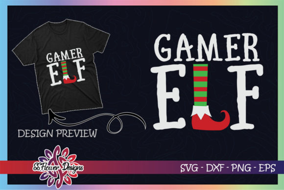 Gamer ELF Christmas Graphic Print Templates By ssflower