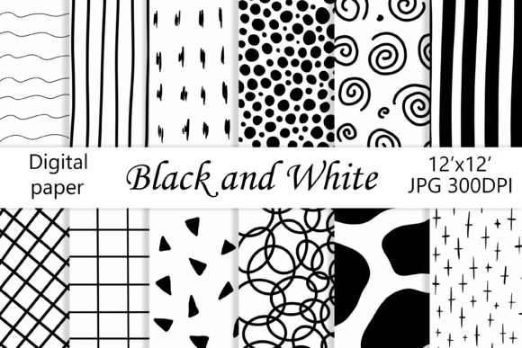 Geometric Paper Black and White Graphic Patterns By CuteShopClipArt