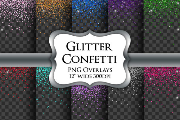 Print on Demand: Glitter Confetti Overlays Transparent Grafik Illustrationen von Party Pixelz