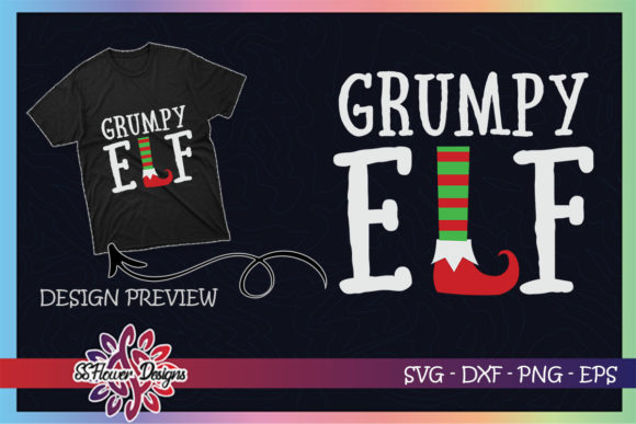 Grumpy ELF Christmas Graphic Print Templates By ssflower