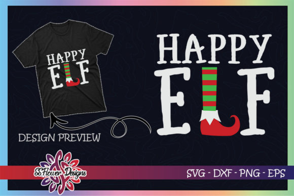 Happy ELF Christmas Graphic Print Templates By ssflower