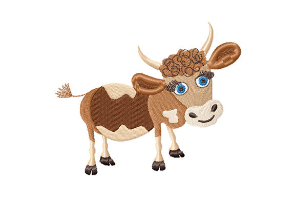 Print on Demand: Kindly Cute Bull Baby Animals Embroidery Design By EmbArt
