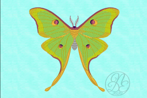 Luna Moth - ITH Bugs & Insects Embroidery Design By DNE embroidery