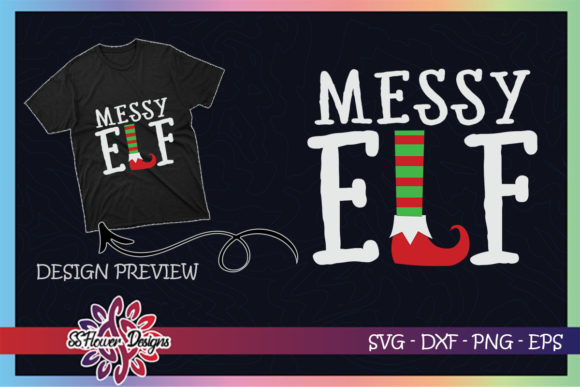 Messy ELF Christmas Graphic Print Templates By ssflower