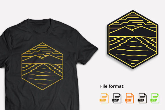 Mountain Geometric Hexa Graphic Illustrations By hello.teeszone