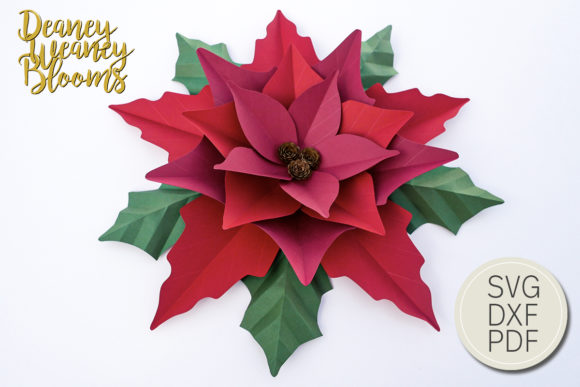 Paper Poinsettia Template 1 Graphic 3D Flowers By Deaney Weaney Blooms