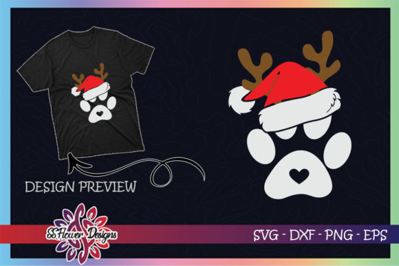 Paws Print Santa Hat Dog Paws Reindeer Graphic Print Templates By ssflower