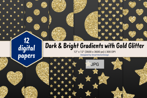 Print on Demand: Polka Dot, Hearts, & Stars-Gradients #1 Graphic Backgrounds By SmartVectorDesign