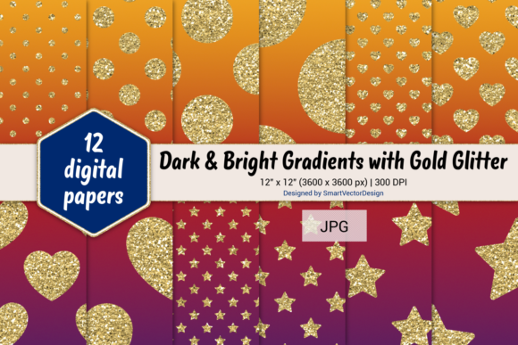 Print on Demand: Polka Dot, Hearts, & Stars-Gradients #10 Graphic Backgrounds By SmartVectorDesign