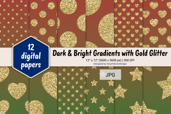 Print on Demand: Polka Dot, Hearts, & Stars-Gradients #11 Graphic Backgrounds By SmartVectorDesign