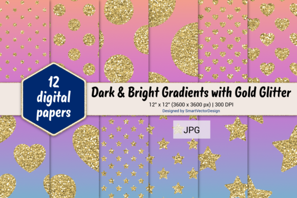 Print on Demand: Polka Dot, Hearts, & Stars-Gradients #15 Graphic Backgrounds By SmartVectorDesign