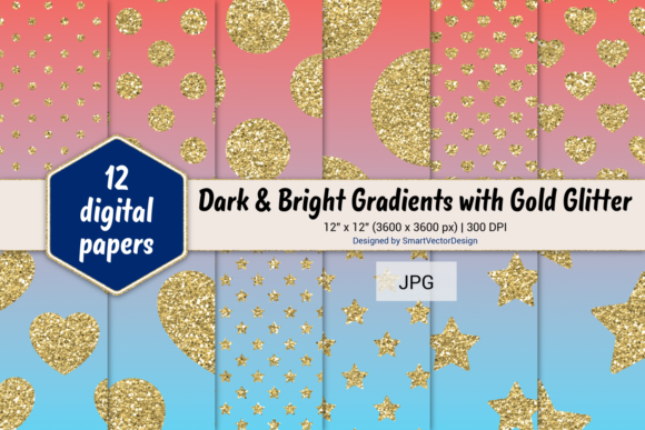 Print on Demand: Polka Dot, Hearts, & Stars-Gradients #16 Graphic Backgrounds By SmartVectorDesign