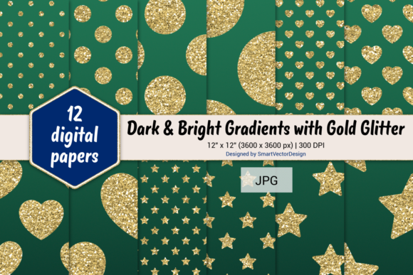 Print on Demand: Polka Dot, Hearts, & Stars-Gradients #18 Graphic Backgrounds By SmartVectorDesign