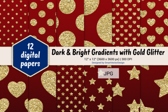 Print on Demand: Polka Dot, Hearts, & Stars-Gradients #2 Graphic Backgrounds By SmartVectorDesign