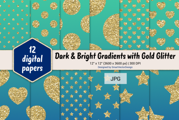 Print on Demand: Polka Dot, Hearts, & Stars-Gradients #22 Graphic Backgrounds By SmartVectorDesign