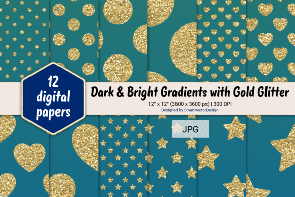 Print on Demand: Polka Dot, Hearts, & Stars-Gradients #23 Graphic Backgrounds By SmartVectorDesign
