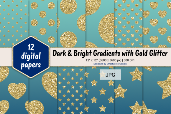Print on Demand: Polka Dot, Hearts, & Stars-Gradients #24 Graphic Backgrounds By SmartVectorDesign