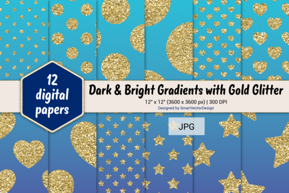Print on Demand: Polka Dot, Hearts, & Stars-Gradients #25 Graphic Backgrounds By SmartVectorDesign