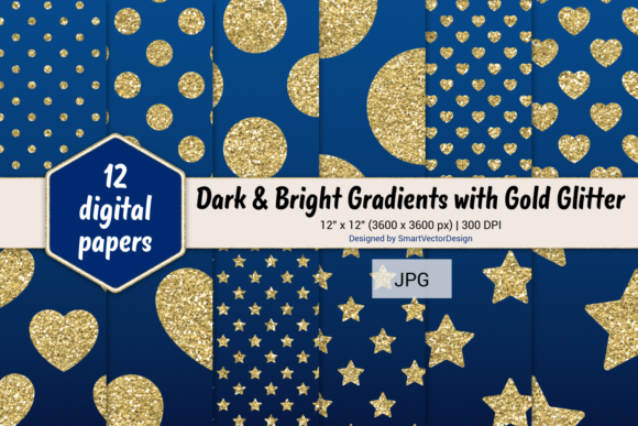 Print on Demand: Polka Dot, Hearts, & Stars-Gradients #28 Graphic Backgrounds By SmartVectorDesign