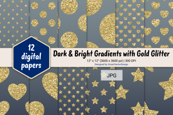 Print on Demand: Polka Dot, Hearts, & Stars-Gradients #29 Graphic Backgrounds By SmartVectorDesign
