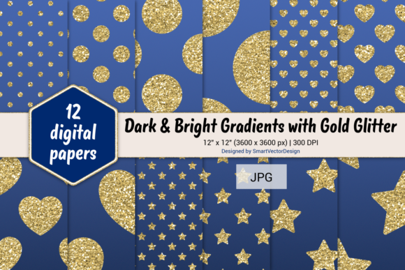 Print on Demand: Polka Dot, Hearts, & Stars-Gradients #30 Graphic Backgrounds By SmartVectorDesign