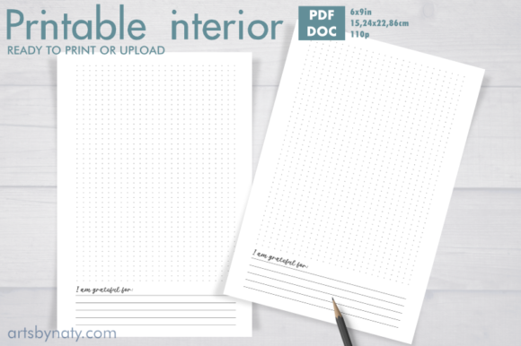 Print on Demand: Printable Bujo for Gratitude Notes. Graphic KDP Interiors By artsbynaty