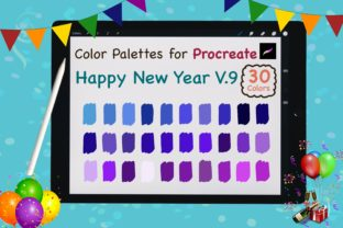 Procreate Color Palettes-New Year V9 Graphic Add-ons By jennythip