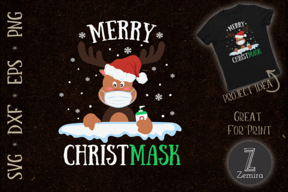 Print on Demand: Quarantine Christmas 2020 Reindeer Mask Graphic Print Templates By Zemira