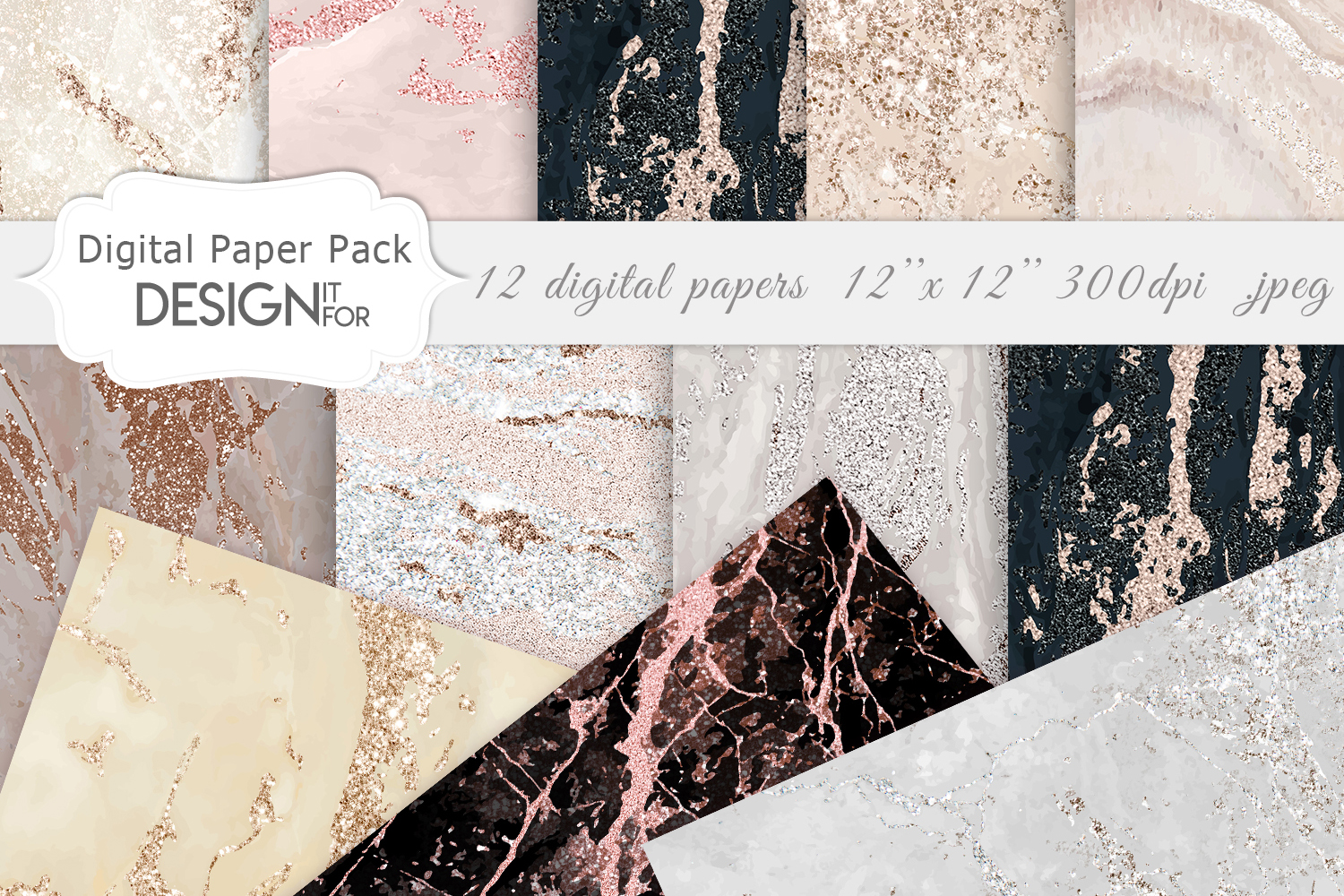 Rose Gold Marble Digital Paper Graphics 6486901 1