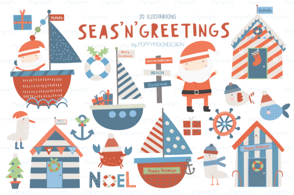 Print on Demand: SEA'N'GREETINGS Clipart Set Graphic Illustrations By poppymoondesign