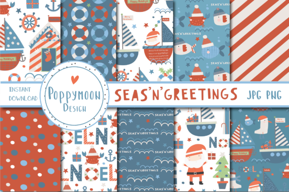 Print on Demand: SEAS'N'GREETINGS Paper Set Graphic Patterns By poppymoondesign