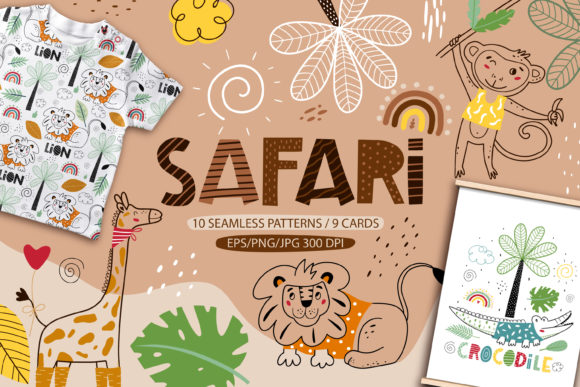 Print on Demand: Safari Animals. Kids Animals Collection Graphic Patterns By FindsArtDesign