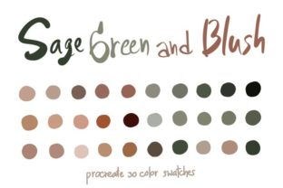 Sage Green Blush-ProcreateColor Palettes Graphic Add-ons By Wanida Toffy