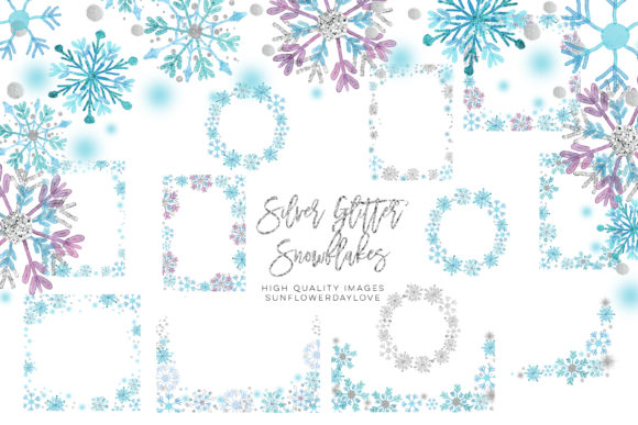 Print on Demand: Snowflake Borders Winter Snow Clip Art Gráfico Ilustraciones Por SunflowerLove