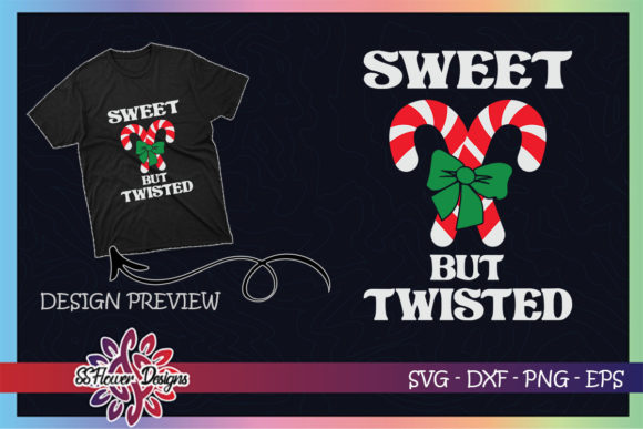 Sweet but Twisted Funny Candy Cane Graphic Print Templates By ssflower