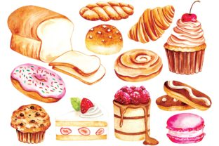 Vintage Bakery and Pastry Water Color Graphic Illustrations By Big Barn Doodles