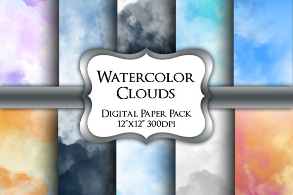 Print on Demand: Watercolor Clouds Digital Paper Pack Graphic Backgrounds By Party Pixelz