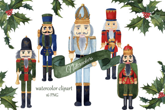Print on Demand: Watercolor Nutcrackers Christmas Clipart Graphic Illustrations By s.yanyeva